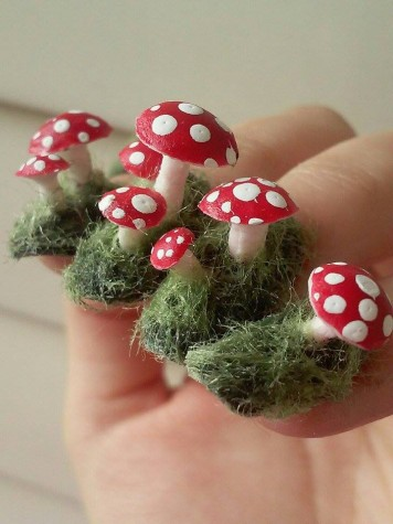 Courtesy of YueTong Tsen. These toadstool nails are Tsen's favorite project and she is most proud of it.