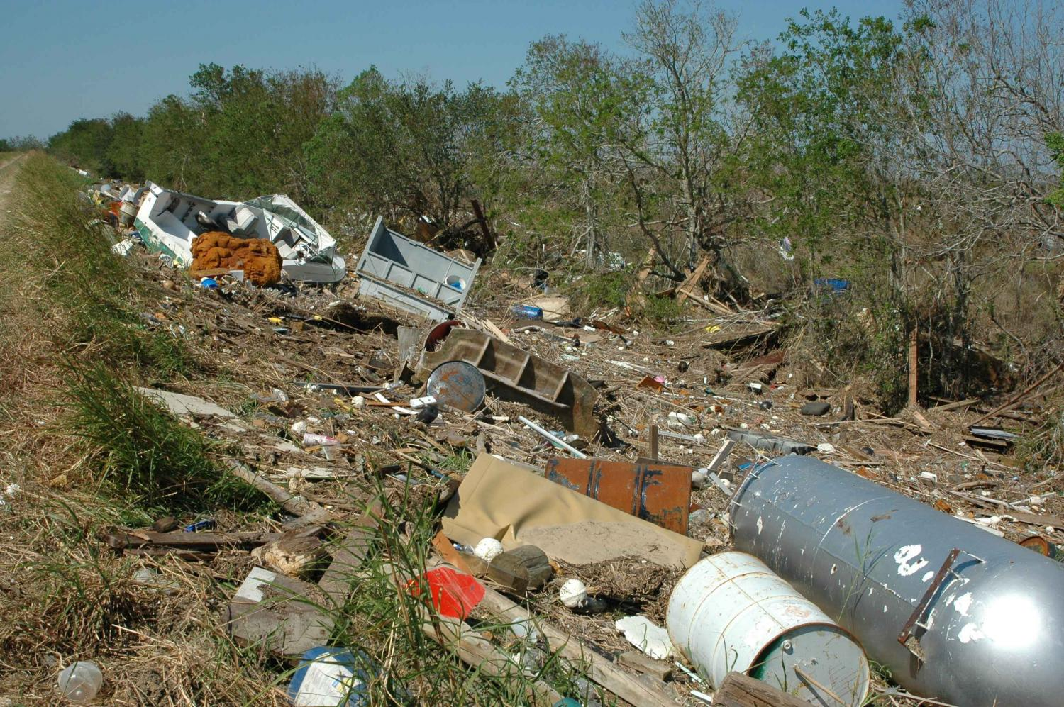 Courtesy of U.S Fish and Wildlife Services. A considerable amount of debris has been left behind by hurricanes.