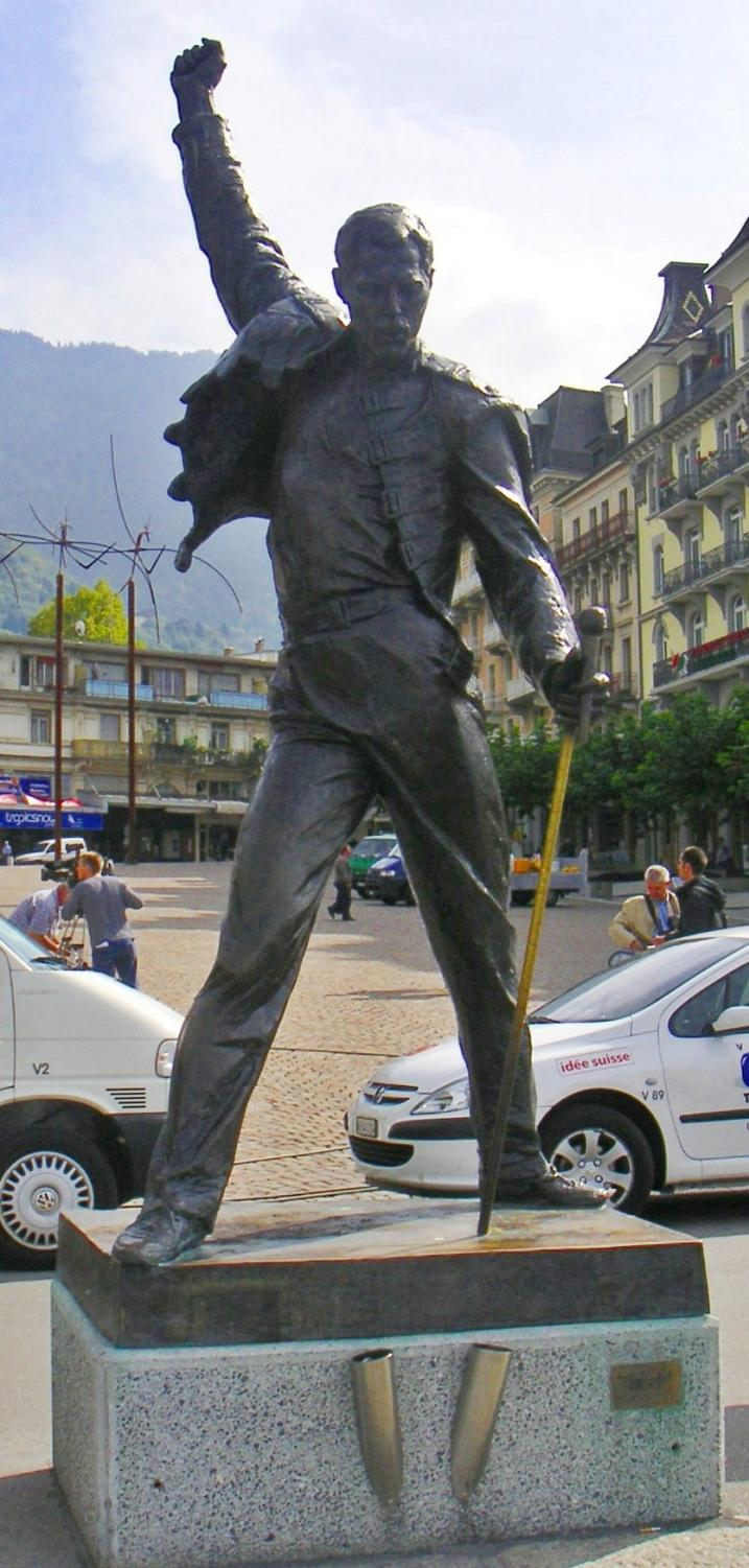 COURTESY OF PARANOID A statue of rock legend, Freddie Mercury, stands tall in Montreux, Switzerland.