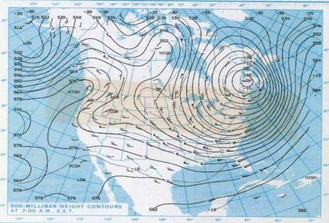 Areas of low-pressure winds of the polar vortex.