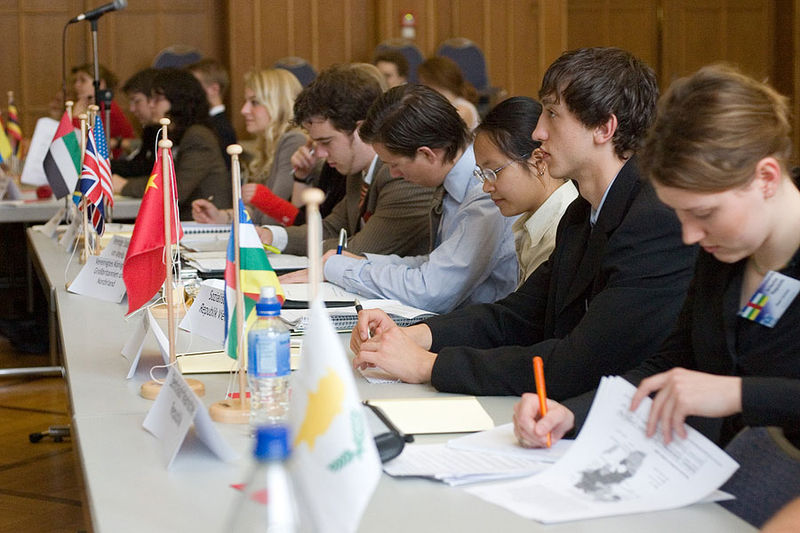 Model United Nations delegates at a General Assembly in Germany.