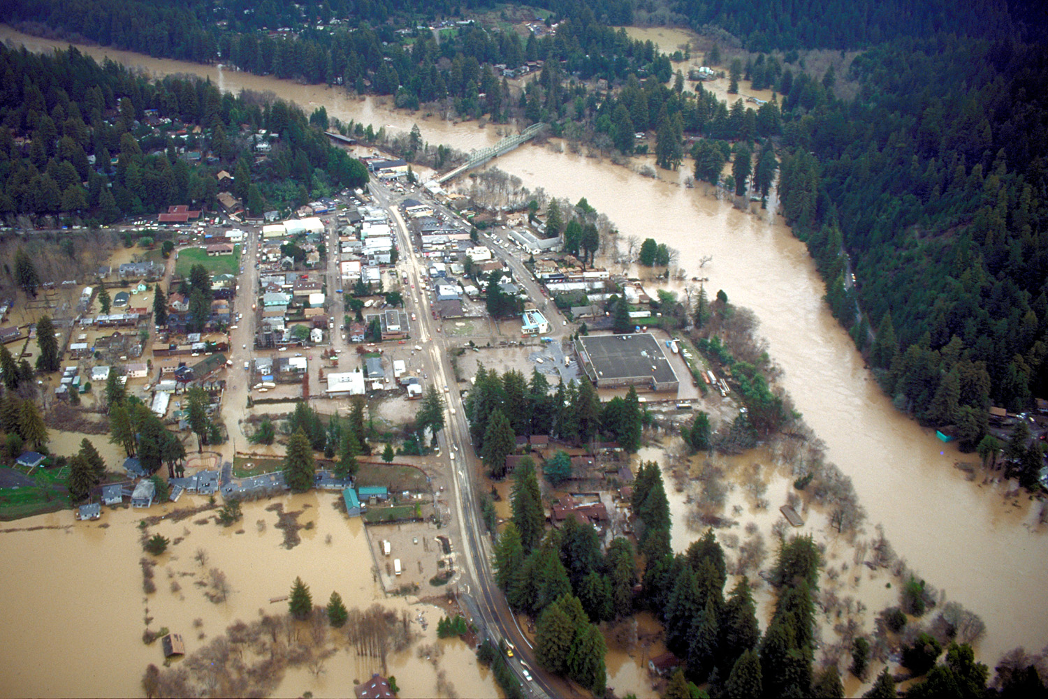 The Russian River flooded the city of Guerneville. The river has flooded many homes and roads.