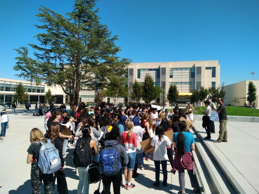 COURTESY OF ALLEN LOOMIS AND ROBERTO COTLEAR.  Students at Wilcox gathered in the quad to participate in the Youth Climate Strike during sixth and seventh period on the twentieth of September.