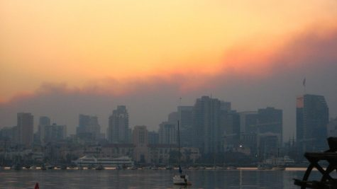 Courtesy of Kat Miner. Yellow smoke from the fires dominates cities.