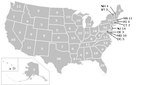 Courtesy of Nbpolitico. Map of how many votes each state gets in the electoral college system.