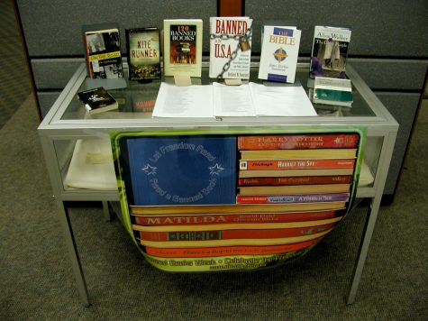 Previously banned books are often displayed at libraries, showcasing a historically common form of censorship.