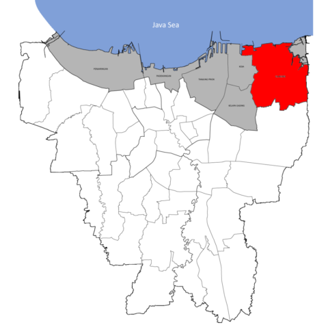 The map of land loss of Jakarta. The grep parts mean how much land has sunk. The red means total danger.