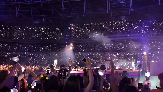 Inside a night time concert.