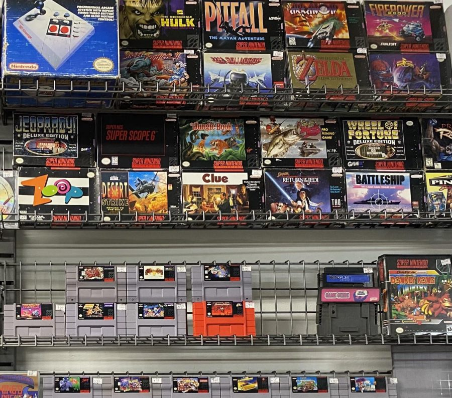 Part of a retro video game collection at The Gameshop Downstairs in San Jose.